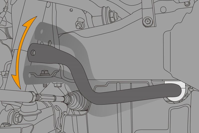 リンクを切り離した状態で作動状況をチェック。 スタビライザー本体が軽い力でスムーズに可動すれば、ジャーナルブッシュが正常に機能している証拠。
